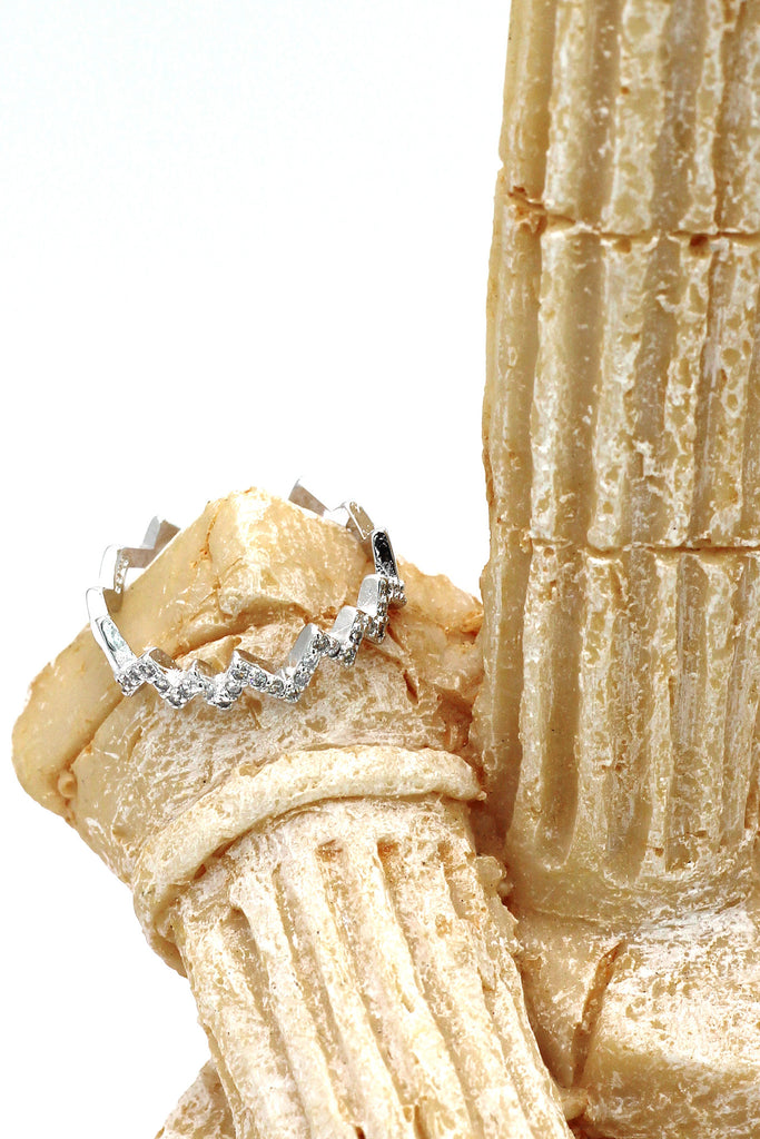 rhythm micro pave crystal silver ring