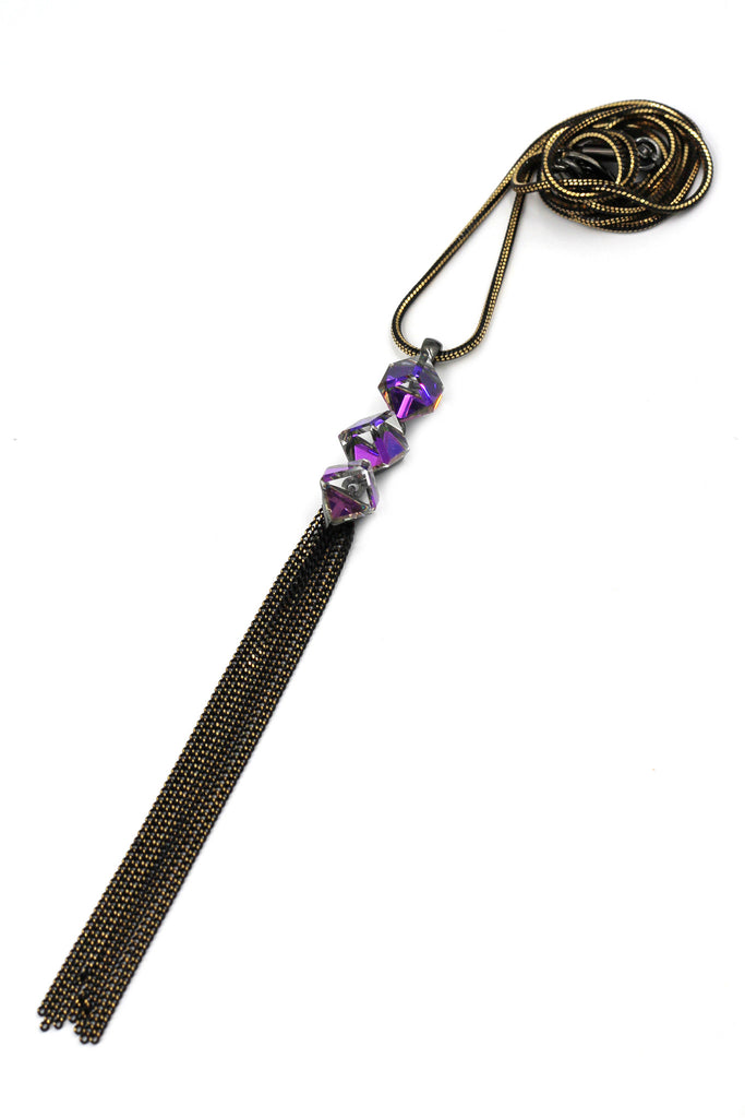 fashion square purple crystal tassel necklace
