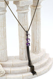 purple square crystal tassel necklace earring set