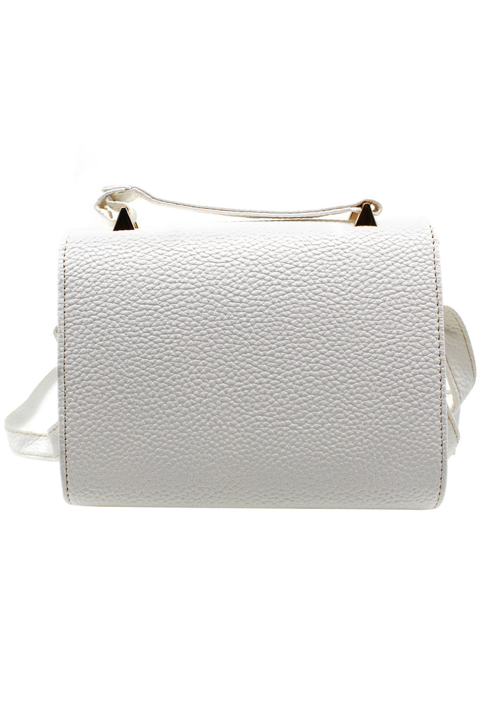 Pebble leather white small purse