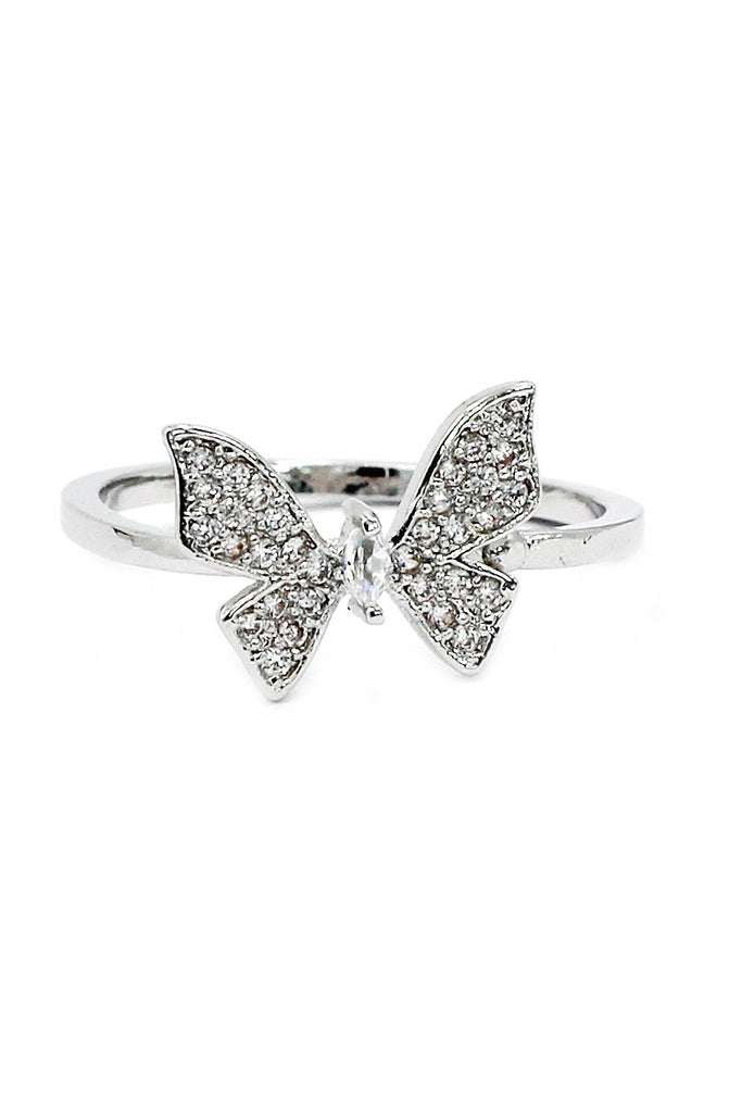 fashion crystal butterfly necklace ring set
