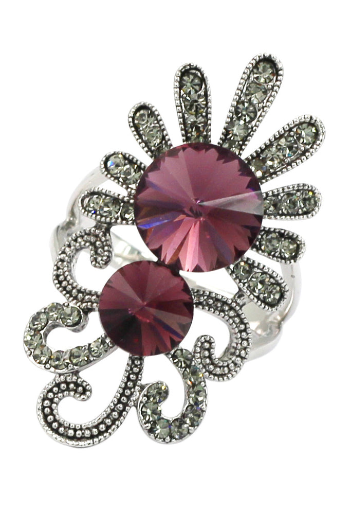 noble red crystal silver ring