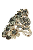 elegant crystal flower and foliage ring