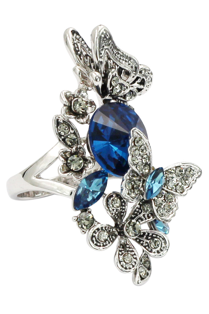 elegant crystal butterfly and flower ring