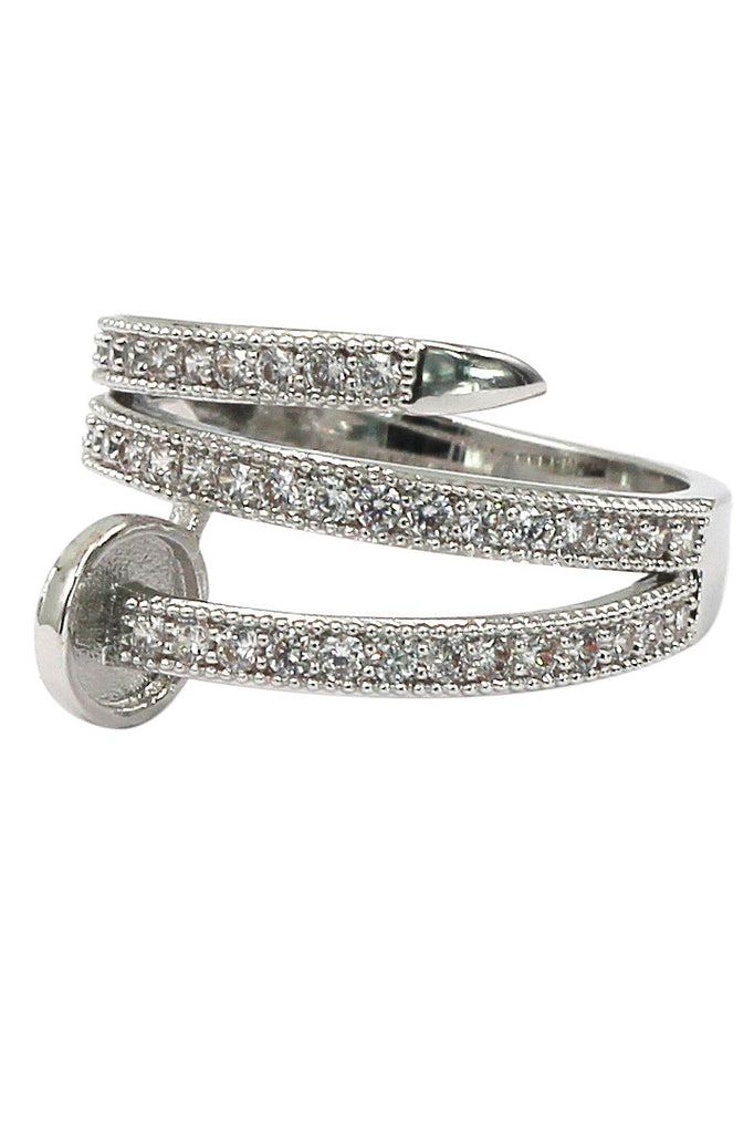 fashion micro pave crystal belt ring