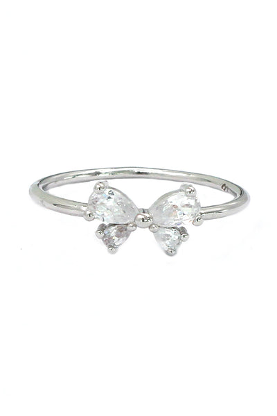 cute bow crystal ring