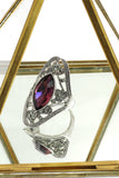 elegant red crystal oval silver ring