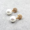 golden crystal flower pearl earrings