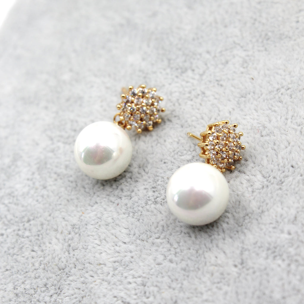 sweet crystal pearl necklace earring set