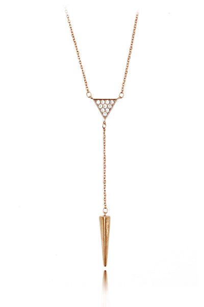 cabinet small triangle crystal pendant necklace