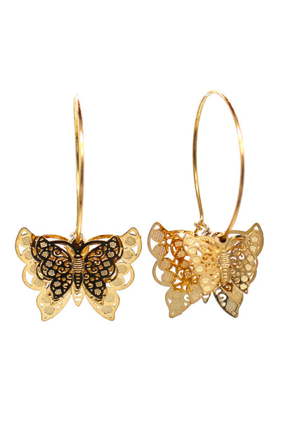 Elegant butterfly circle earrings