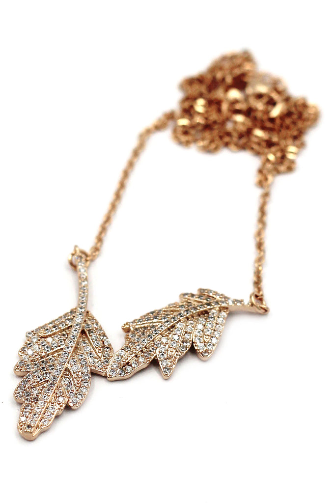 fashion crystal leaf clavicle necklace