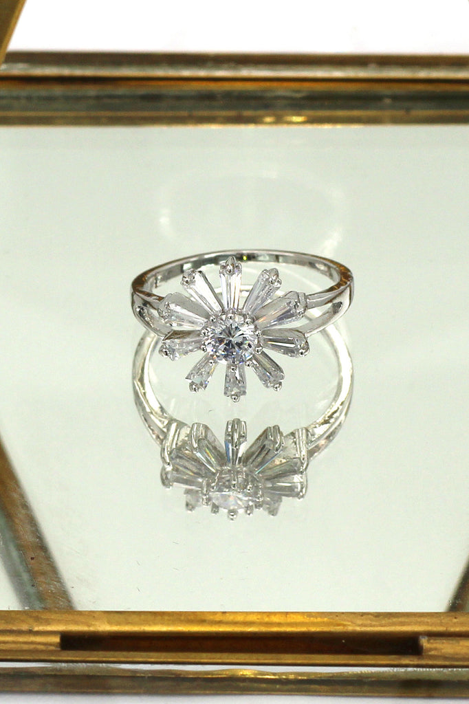 clear crystal flower silver ring