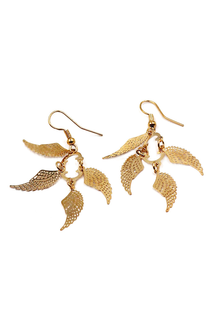 Fashion wings gold earrings