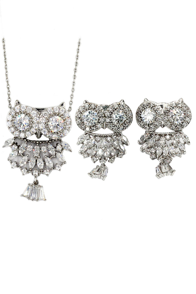 lovely crystal pendant owl necklace earrings set