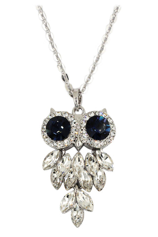 fashion transparent and blue crystal necklace earrings silver sets