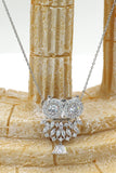 lovely crystal pendant owl silver necklace