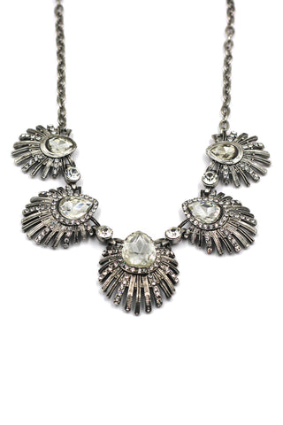 silver pearl crystal necklace