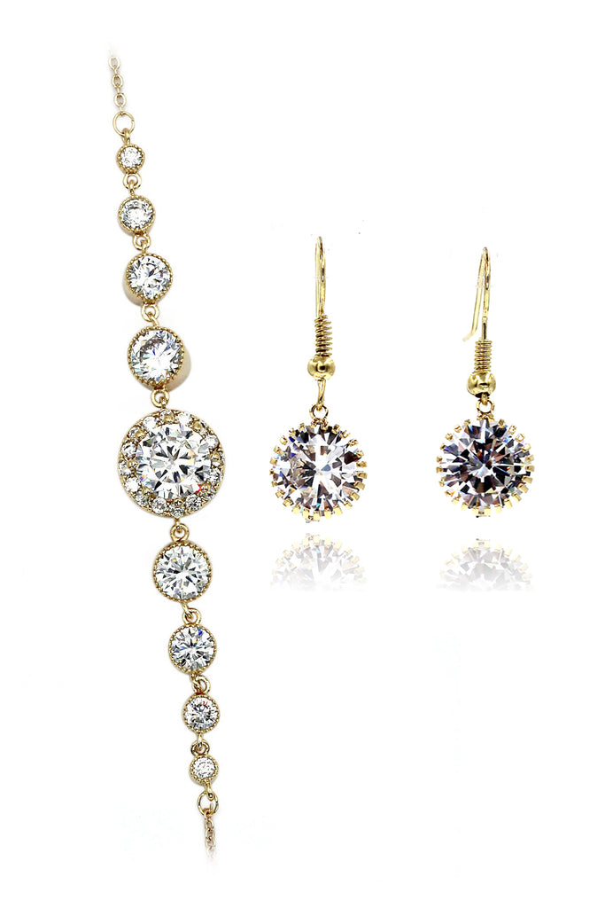 fashion shiny crystal earrings bracelet set
