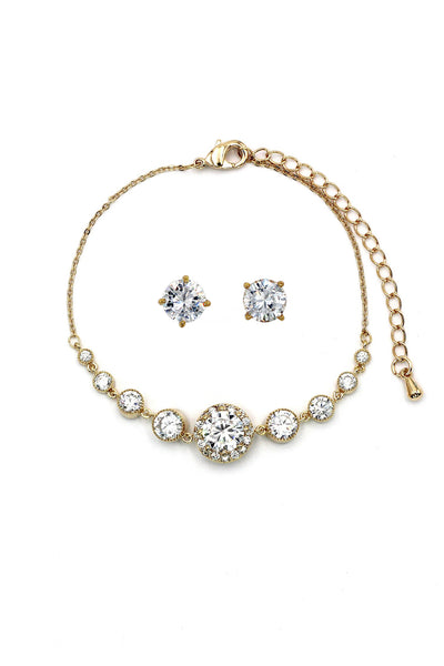 fashion golden crystal earring bracelet set