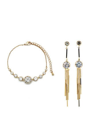 fashion key necklace earrings crystal set