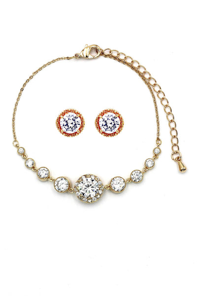 gold round crystal earring bracelet set