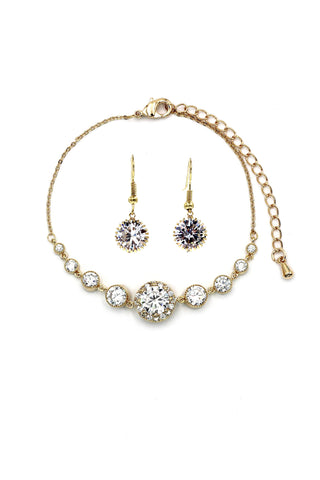 elegant crystal pearl earrings necklace set