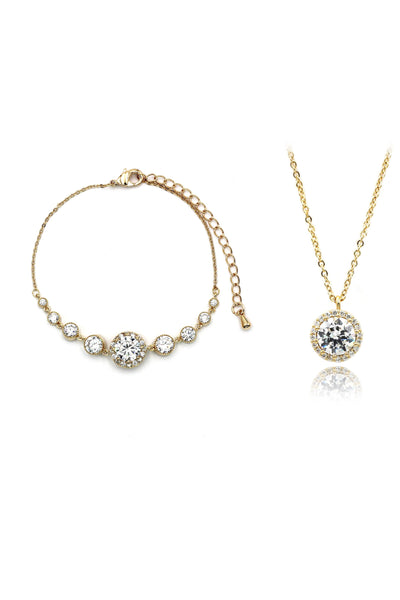 elegant crystal necklace bracelet set