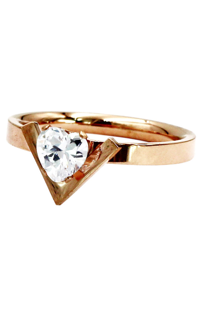 fashion rose gold crystal heart ring