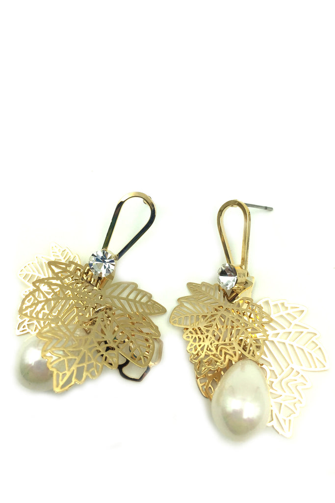 Gold Leaves Pearl Earrings