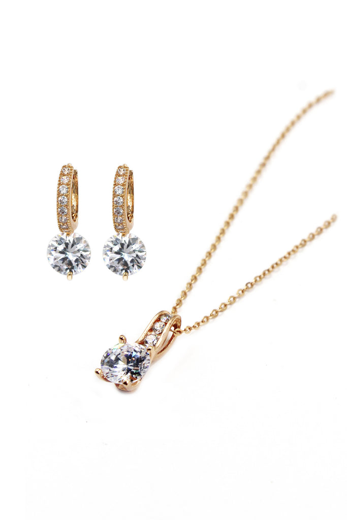 fashion rose gold crystal earrings necklace set