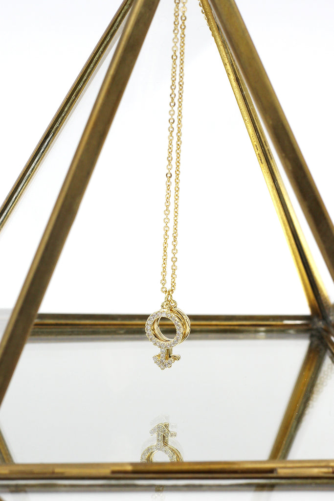 simple symbol crystal necklace