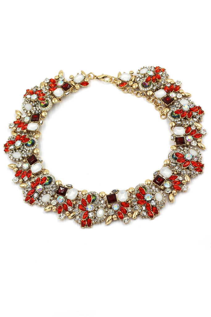 elegant red crystal flower earring necklace set