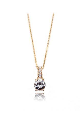 fashion gold four-claw crystal necklace