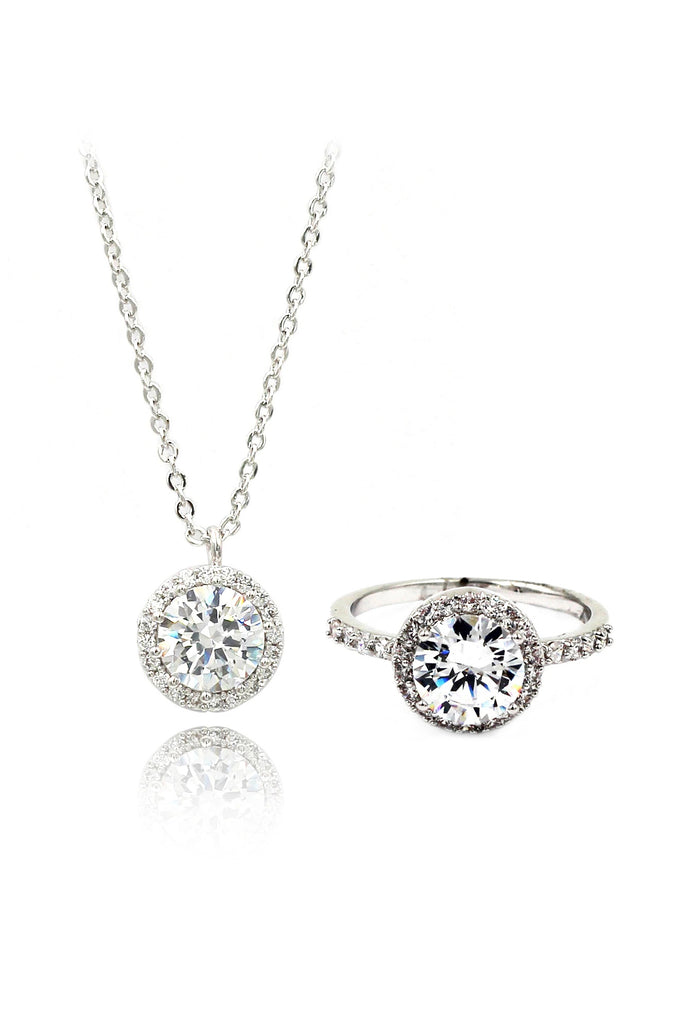 Simple crystal ring necklace set