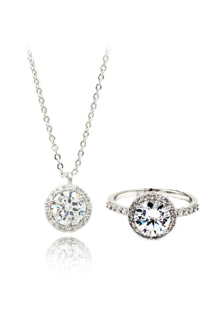 sparkling rhythm crystal silver necklace