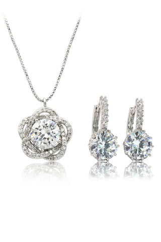 mini crystal ball necklace earrings set