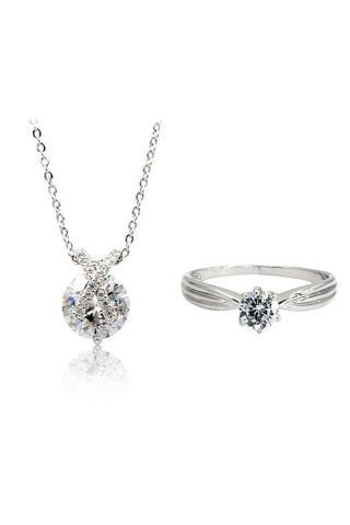 shiny zircon crystal earrings ring set