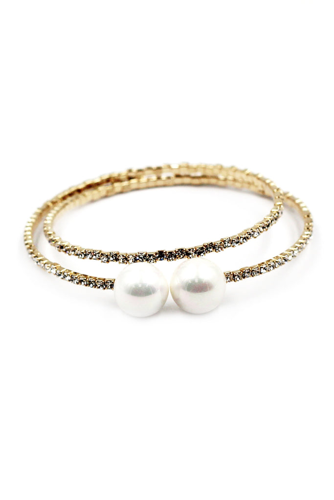 fashion gold pearl crystal bracelet