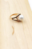 golden large pearl crystal ring