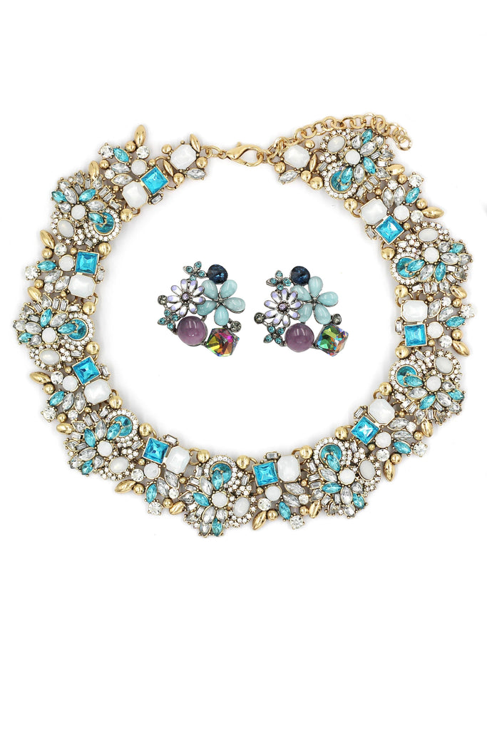 noble blue crystal flower necklace earring set