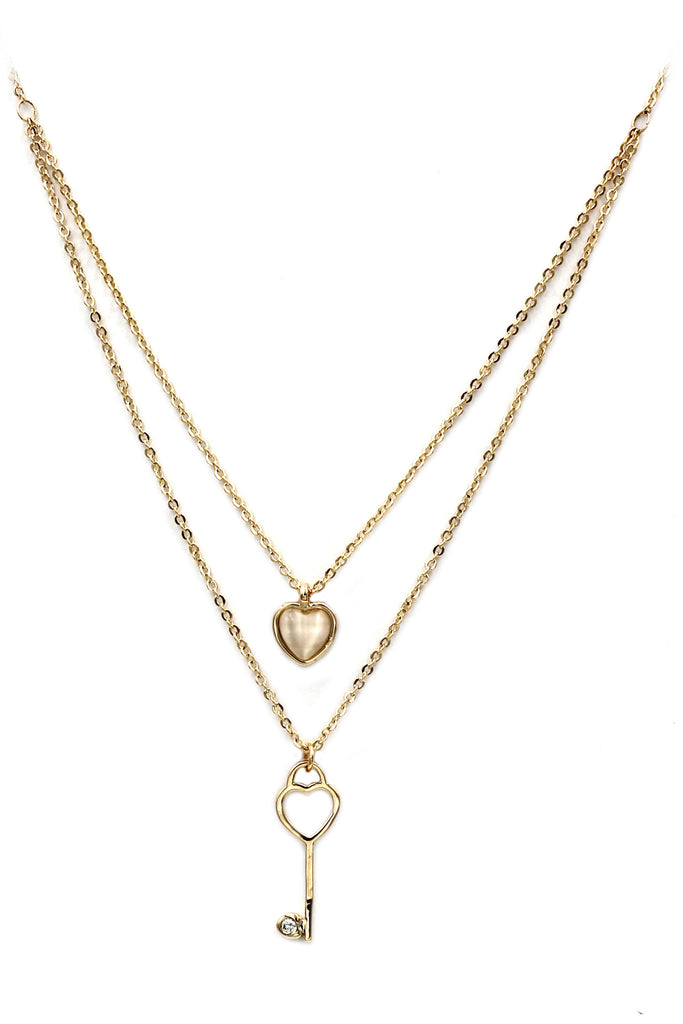 duplexes lovely heart key necklace
