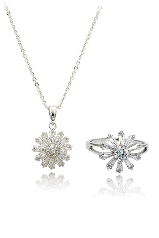 square crystal ring necklace set