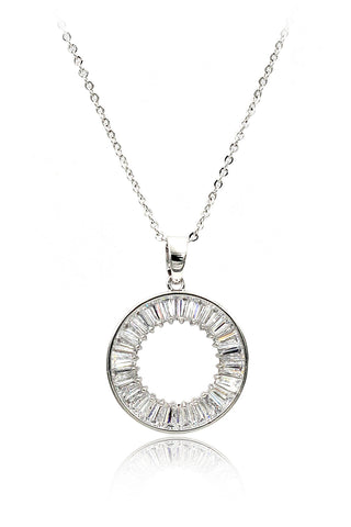 fashion circle wheel crystal necklace