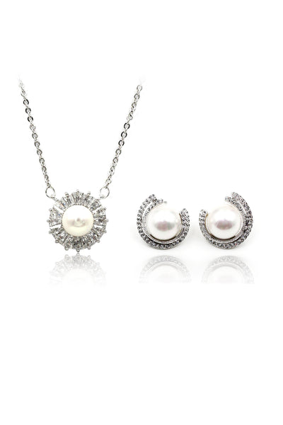 wild crystal pearl earrings necklace set