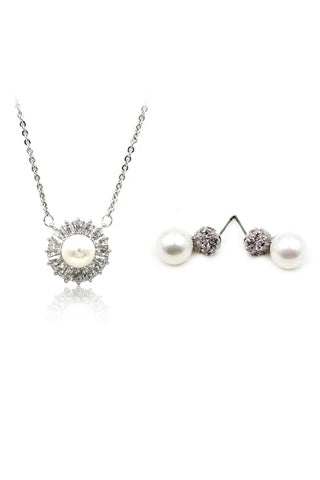 fashion crystal necklace earrings set
