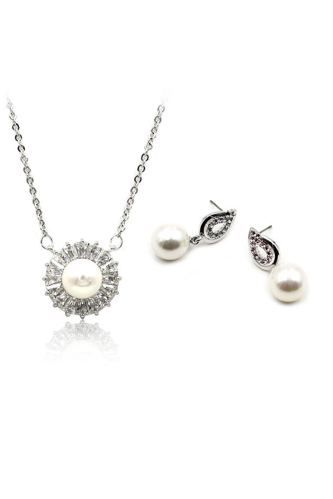 striped crystal pearl necklace earring set