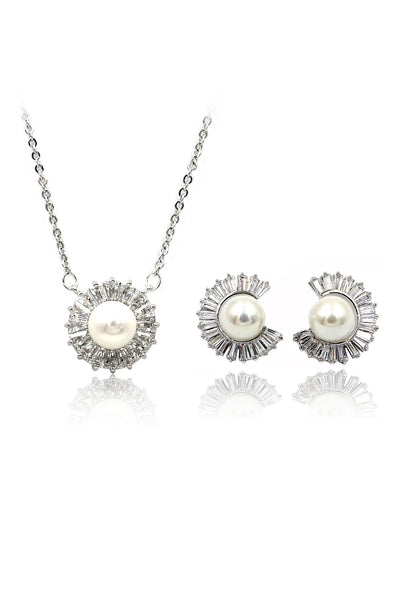 fashion wild crystal pearl earrings necklace set