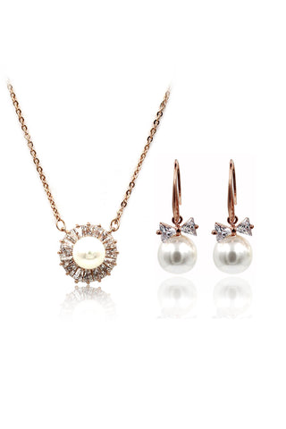 simple crystal pearl earrings necklace set