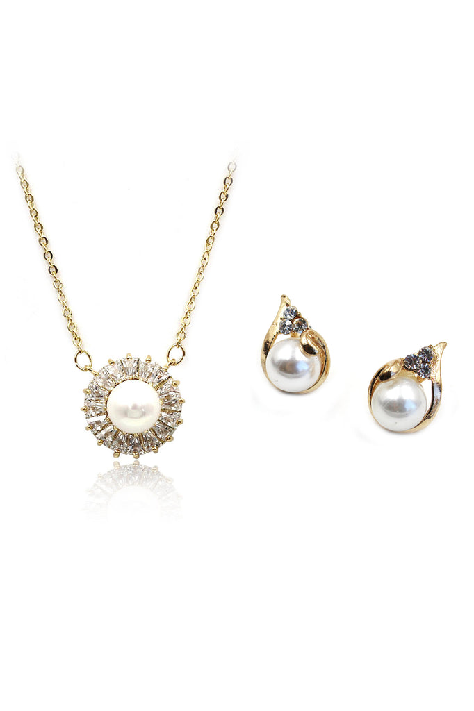full crystal pearl necklace earring set